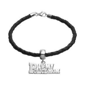 """Insignia Collection Sterling Silver & Leather """"I Love My Police Mom"""" Bracelet"""