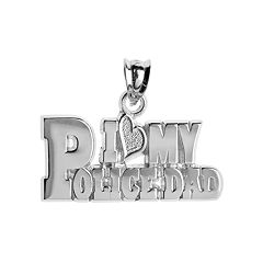 Insignia Collection Sterling Silver 'I Love My Police Dad'