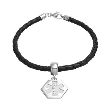 Insignia Collection Sterling Silver & Leather Medical Emblem Charm Bracelet
