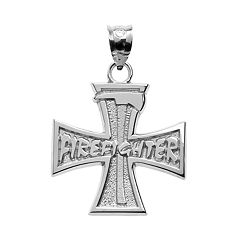 Insignia Collection Sterling Silver Cross & Axe 'Firefighter' Pendant