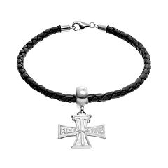 Insignia Collection Sterling Silver & Leather 'Firefighter' & Axe Cross Charm Bracelet
