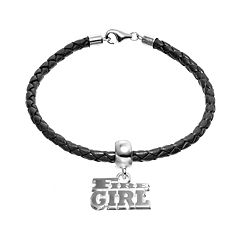 Insignia Collection Sterling Silver & Leather 'Fire Girl' Charm Bracelet