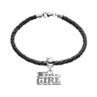 "Insignia Collection Sterling Silver & Leather ""Fire Girl"" Charm Bracelet"