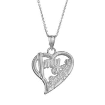 "Insignia Collection Sterling Silver ""I Love My Firefighter"" Heart Pendant Necklace"