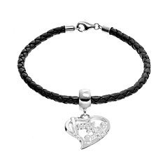 Insignia Collection Sterling Silver & Leather 'I Love My Firefighter' Heart Charm Bracelet