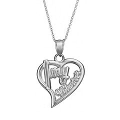 Insignia Collection Sterling Silver 'I Love My Volunteer' Heart Pendant Necklace