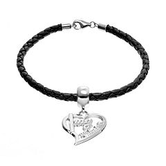 Insignia Collection Sterling Silver & Leather 'I Love My Volunteer' Heart Charm Bracelet
