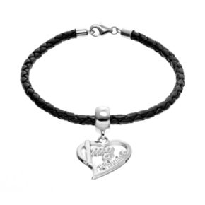 """Insignia Collection Sterling Silver & Leather """"I Love My Volunteer"""" Heart Charm Bracelet"""