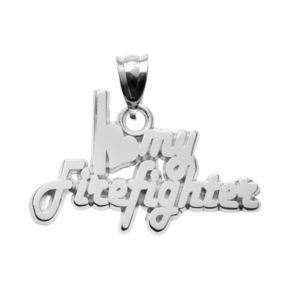 "Insignia Collection Sterling Silver ""I Love My Firefighter"" Pendant"