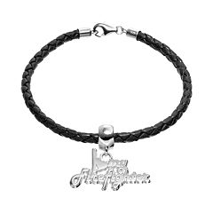 Insignia Collection Sterling Silver & Leather 'I Love My Firefighter' Charm Bracelet