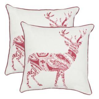 Safavieh Paisley Reindeer 2-piece Throw Pillow Set