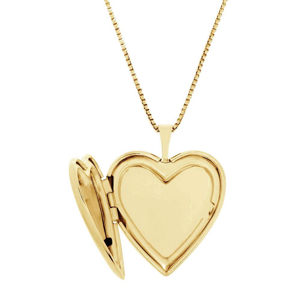 10k Gold Over Silver Floral Engraved Locket Necklace