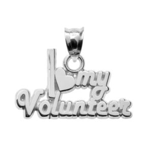 "Insignia Collection Sterling Silver ""I Love My Volunteer"" Pendant"