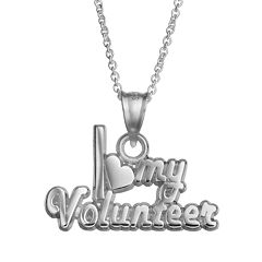 Insignia Collection Sterling Silver 'I Love My Volunteer' Pendant Necklace