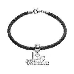 Insignia Collection Sterling Silver & Leather 'I Love My Volunteer' Charm Bracelet