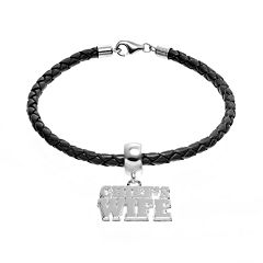 Insignia Collection Sterling Silver & Leather 'Chief's Wife' Charm Bracelet