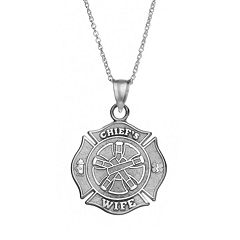 Insignia Collection Sterling Silver 'Chief's Wife' Maltese Cross Pendant Necklace