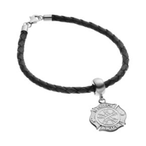 Insignia Collection Sterling Silver and Leather Fire Rescue Maltese Cross Charm Bracelet