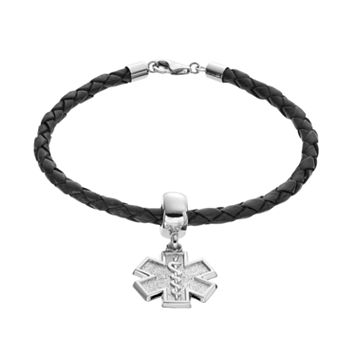Insignia Collection Sterling Silver & Leather Star of Life Charm Bracelet