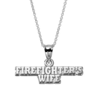 "Insignia Collection Sterling Silver ""Firefighter's Wife"" Pendant Necklace"
