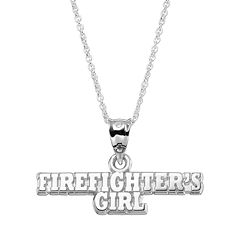 Insignia Collection Sterling Silver 'Firefighter's Girl' Pendant Necklace