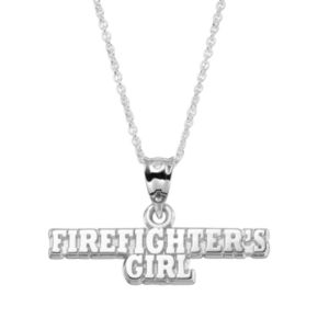 """Insignia Collection Sterling Silver """"Firefighter's Girl"""" Pendant Necklace"""