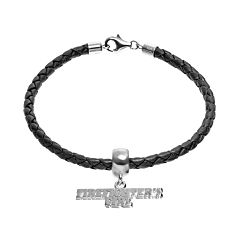 Insignia Collection Sterling Silver & Leather 'Firefighter's Girl' Charm Bracelet