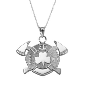 Insignia Collection Sterling Silver Maltese Cross Axes and Shamrock Pendant Necklace