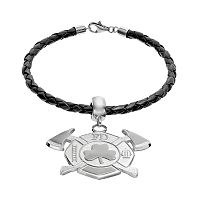 Insignia Collection Sterling Silver & Leather Maltese Cross & Axes Shamrock Charm Bracelet