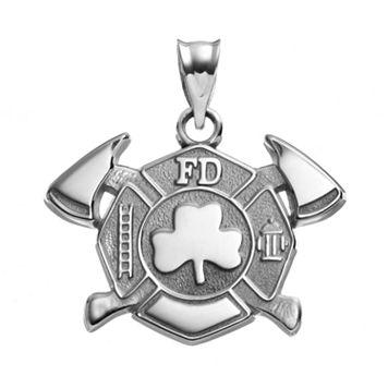 Insignia Collection Sterling Silver Maltese Cross Axes & Shamrock Pendant