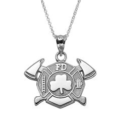 Insignia Collection Sterling Silver Maltese Cross Axes & Shamrock Pendant Necklace