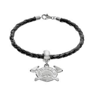 Insignia Collection Sterling Silver and Leather Maltese Cross and Axes Shamrock Charm Bracelet