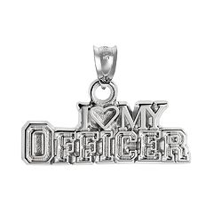 Insignia Collection Sterling Silver 'I Love My Officer' Pendant