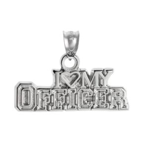 """Insignia Collection Sterling Silver """"I Love My Officer"""" Pendant"""