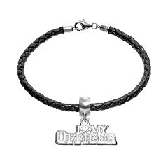 Insignia Collection Sterling Silver & Leather 'I Love My Officer' Charm Bracelet