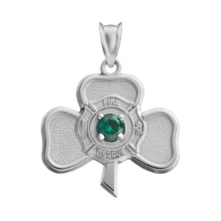 Insignia Collection Simulated Emerald Sterling Silver Irish Shamrock Maltese Cross Pendant