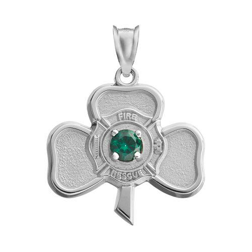 Insignia Collection Simulated Emerald Sterling Silver Irish Shamrock Maltese Cross Pendant