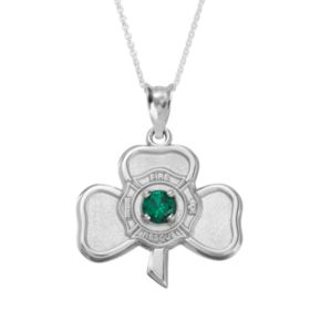 Insignia Collection Simulated Emerald Sterling Silver Irish Shamrock Maltese Cross Pendant Necklace
