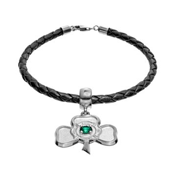 Insignia Collection Simulated Emerald Sterling Silver & Leather Irish Shamrock Maltese Cross Charm Bracelet