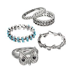 Mudd® Owl, Leaf, Vine & Twist Ring Set