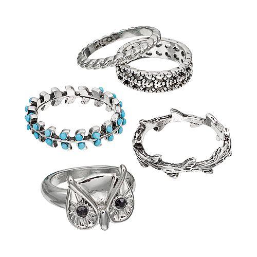 Mudd® Owl, Leaf, Vine & Twist Ring Set