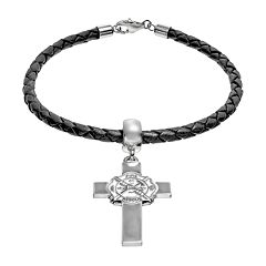 Insignia Collection Sterling Silver & Leather Fire Department Maltese Cross Charm Bracelet