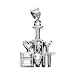 Insignia Collection Sterling Silver 'I Love My EMT' Pendant