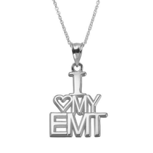 "Insignia Collection Sterling Silver ""I Love My EMT"" Pendant Necklace"