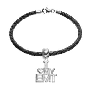 """Insignia Collection Sterling Silver & Leather """"I Love My EMT"""" Charm Bracelet"""
