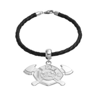 Insignia Collection Sterling Silver and Leather Maltese Cross and Axe Charm Bracelet