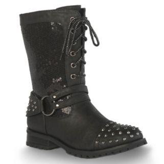 Gia-Mia Sequin Chic Women's Dance Moto Boots