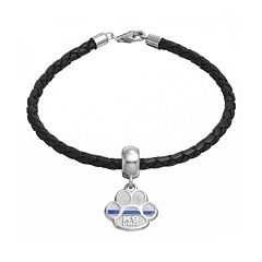 Insignia Collection Sterling Silver & Leather 'K9 Unit' Charm Bracelet
