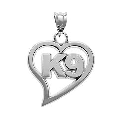 Insignia Collection Sterling Silver 'K9' Heart Pendant