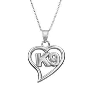 """Insignia Collection Sterling Silver """"K9"""" Heart Pendant Necklace"""